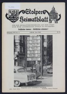 Stolper Heimatblatt für die Heimatvertriebenen aus der Stadt und dem Landkreise Stolp in Pommern Nr. 6/1963