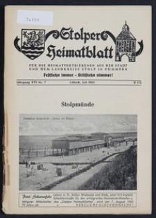 Stolper Heimatblatt für die Heimatvertriebenen aus der Stadt und dem Landkreise Stolp in Pommern Nr. 7/1963
