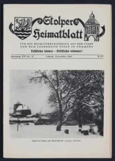 Stolper Heimatblatt für die Heimatvertriebenen aus der Stadt und dem Landkreise Stolp in Pommern Nr. 12/1963