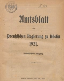 Amtsblatt der Preuβischen Regierung zu Köslin 1921