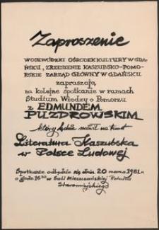 [Plakat] : Literatura Kaszubska w Polsce Ludowej