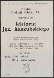 [Plakat] : Lektorat jęz. kaszubskiego