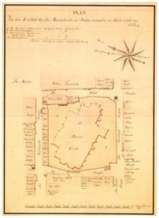 Plan von dem Kirchhofe bey der Marienkirche zu Stolpevermessen im Märtz 1796 von A. F. Pleetz. [Plan placu przy kościele Mariackim w Słupsku, wymierzony w marcu 1796 r. przez A. F. Pleetza]