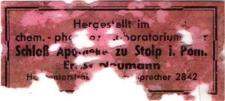 Hergestellt im chem. photo... Laboratorium Schloß Apotheke zu Stolp i Pom. Ernst Neumann