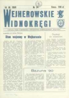 """Wejherowskie Widnokręgi Lokalne Pismo Pomorskiego Towarzystwa Samorządowego """"Solidarni"""", 1990, październik, Nr 34"""