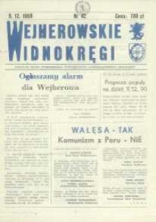 """Wejherowskie Widnokręgi Lokalne Pismo Pomorskiego Towarzystwa Samorządowego """"Solidarni"""", 1990, grudzień, Nr 42"""