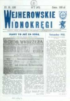 """Wejherowskie Widnokręgi Lokalne Pismo Pomorskiego Towarzystwa Samorządowego """"Solidarni"""", 1991, styczeń, Nr 3 (47)"""