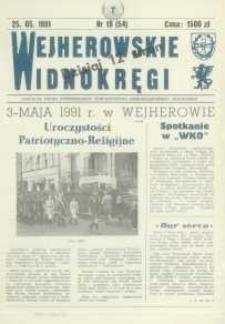 """Wejherowskie Widnokręgi Lokalne Pismo Pomorskiego Towarzystwa Samorządowego """"Solidarni"""", 1991, maj, Nr 10 (54)"""