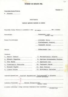 Protokół rejestracji zgłoszenia kandydata na senatora