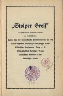 Stolper Greif: Heimatblatt für kulturelle Angelegenheiten von Stadt und Kreis Stolp