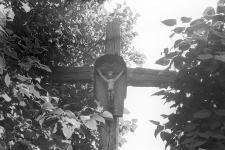 Figura na krzyżu w zagrodzie Kazimierza Gdańca - Pogódki