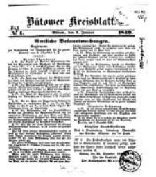 Kreisblatt des Bütower Kreises 1849 nr 1