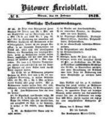 Kreisblatt des Bütower Kreises 1849 nr 7
