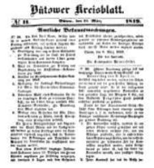 Kreisblatt des Bütower Kreises 1849 nr 11