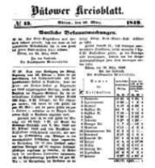 Kreisblatt des Bütower Kreises 1849 nr 13