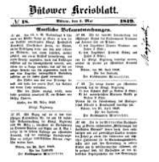 Kreisblatt des Bütower Kreises 1849 nr 18