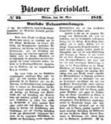 Kreisblatt des Bütower Kreises 1849 nr 22