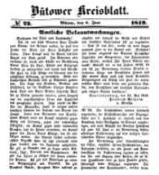 Kreisblatt des Bütower Kreises 1849 nr 23