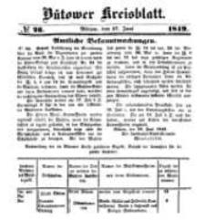 Kreisblatt des Bütower Kreises 1849 nr 26