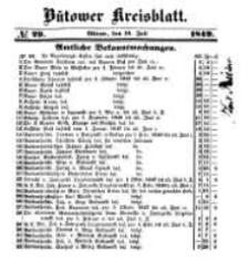 Kreisblatt des Bütower Kreises 1849 nr 29