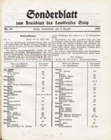 Sonderblatt zum Kreisblatt des Landkreises Stolp nr 36