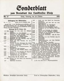 Sonderblatt zum Kreisblatt des Landkreises Stolp nr 47