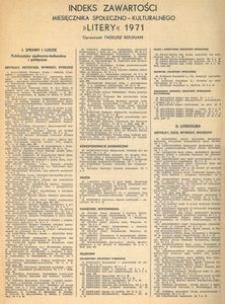 """Indeks zawartości miesięcznika społeczno-kulturalnego """"Litery"""" 1971"""