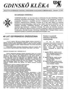 Gdinskô Klëka : biuletyn Gdyńskiego Oddziału Zrzeszenia Kaszubsko-Pomorskiego Kwartał 1 Nr (1) 1997
