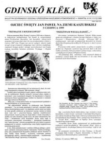 Gdinskô Klëka : biuletyn Gdyńskiego Oddziału Zrzeszenia Kaszubsko-Pomorskiego Kwartał III-IV Nr (11-12) 1999