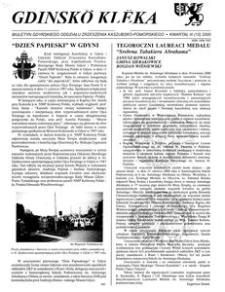 Gdinskô Klëka : biuletyn Gdyńskiego Oddziału Zrzeszenia Kaszubsko-Pomorskiego Kwartał III Nr (15) 2000