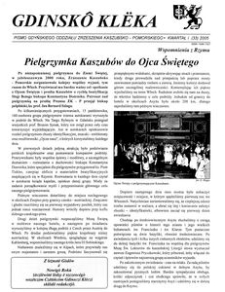 Gdinskô Klëka : biuletyn Gdyńskiego Oddziału Zrzeszenia Kaszubsko-Pomorskiego Kwartał I Nr (33) 2005