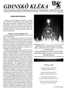 Gdinskô Klëka : pismo Gdyńskiego Oddziału Zrzeszenia Kaszubsko-Pomorskiego. Kwartał III Nr 4 (54) 2009