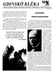Gdinskô Klëka : pismo Gdyńskiego Oddziału Zrzeszenia Kaszubsko-Pomorskiego Kwartał IV Nr4 (58) 2010
