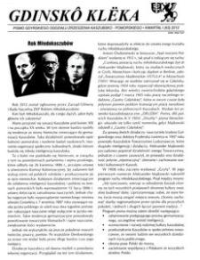 Gdinskô Klëka : Pismo Gdyńskiego Oddziału Zrzeszenia Kaszubsko-Pomorskiego Kwartał I Nr1 (63) 2012