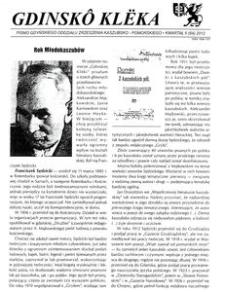 Gdinskô Klëka : Pismo Gdyńskiego Oddziału Zrzeszenia Kaszubsko-Pomorskiego Kwartał II Nr 2 (64) 2012