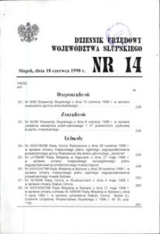 Dziennik Urzędowy Województwa Słupskiego. Nr 14/1998