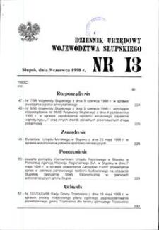 Dziennik Urzędowy Województwa Słupskiego. Nr 13/1998