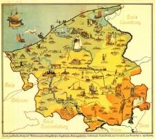 [Mapa powiatu Słupsk z ilustracjami z zakresu geologii, prehistorii, historii kultury, etnografii, przyrody, przemysłu, działalności zarobkowej i sportu]