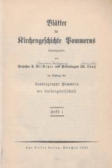 Blätter für Kirchengeschichte Pommerns Heft 1