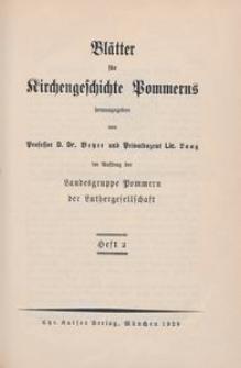 Blätter für Kirchengeschichte Pommerns Heft 2