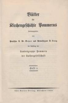 Blätter für Kirchengeschichte Pommerns Heft 5