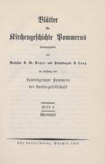 Blätter für Kirchengeschichte Pommerns Heft 6