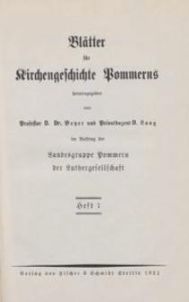 Blätter für Kirchengeschichte Pommerns Heft 7