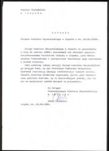 Uchwała Zarządu Komitetu Obywatelskiego w Słupsku z dn. 20.06.1990 r.