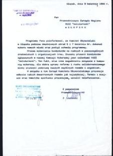 """[Pismo do Przewodniczącego Zarządu Regionu NSZZ """"Solidarność"""" w Słupsku]"""