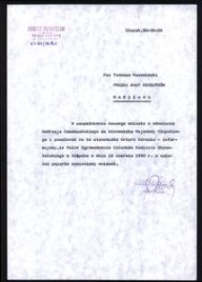 [Pismo do Prezesa Rady Ministrów Pana Tadeusza Mazowieckiego]