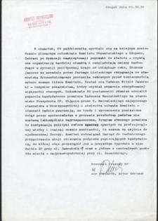 [Pismo z posiedzenia plenarnego członków Komitetu Obywatelskiego w Słupsku]