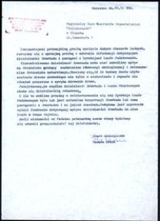 """[Pismo do Regionalnego Ruchu Komitetów Obywatelskich """"Solidarnosć"""" w Słupsku"""