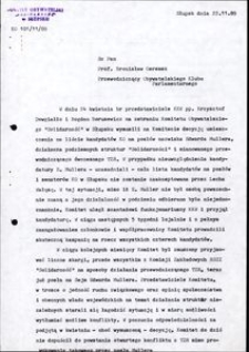 [Pismo do pana prof. Bronisława Geremka]