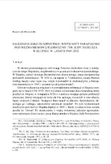 Salezjanie jako duszpasterze wspólnoty parafialnej pod wezwaniem Świętej Rodziny i św. Judy Tadeusza w Słupsku w latach 1949-2012